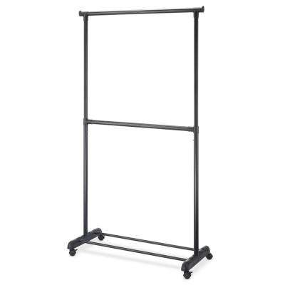 Black Metal Clothes Rack with Wheels (37 in. W x 70 in. H)