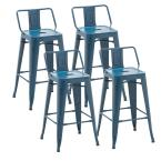 24 in. Navy Blue Modern Industrial Metal Bar Stools (set of 4)