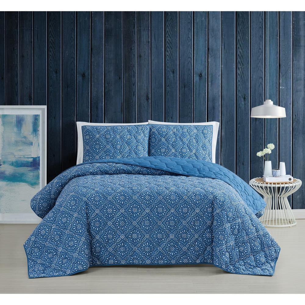 Katrine 3-Piece Blue Full/Queen Cotton Quilt Set