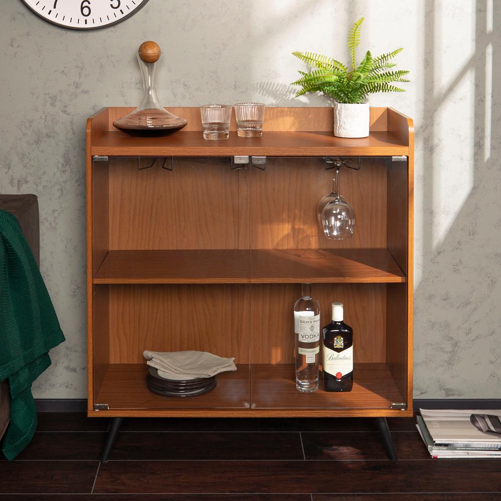 """36"""" Glass Door Bar Cabinet With metal Legs - Acorn"""