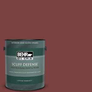 Behr Ultra 1 Gal Pmd 43 Velvety Merlot Extra Durable Semi Gloss Enamel Interior Paint And Primer In One 375301 The Home Depot