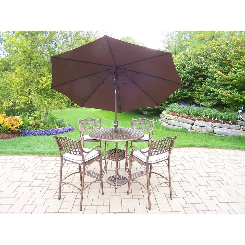 Oakland Living Elite Cast Aluminum 7 Piece Round Patio Bar Height Dining  Set With Oatmeal