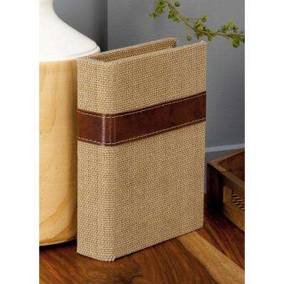 New Traditional Rectangular Wood and Burlap Book Boxes (Set of 3)