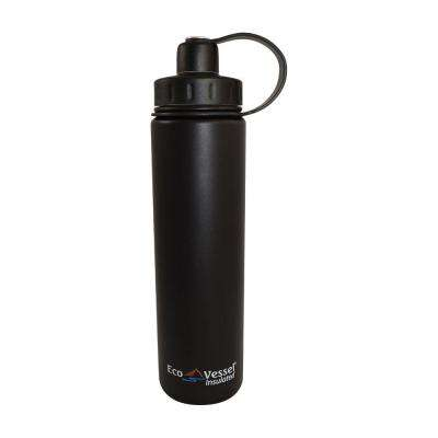 24 oz. Boulder Triple Insulated Bottle with Screw Cap - Black Shadow (Powder Coat)