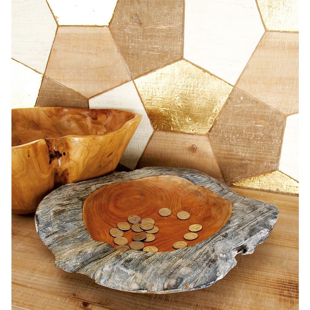 Medium-Sized Cherrywood Brown Decorative Teak Bowl