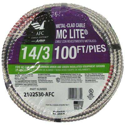 14/3 x 100 ft. Solid MC Lite Cable