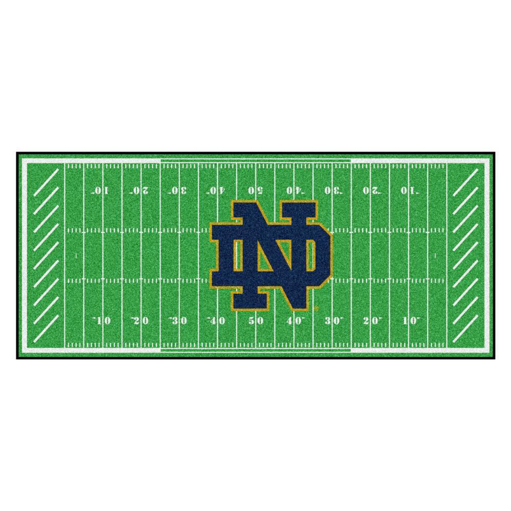NCAA Notre Dame 2.5 ft. x 6 ft. Football Field Runner Rug