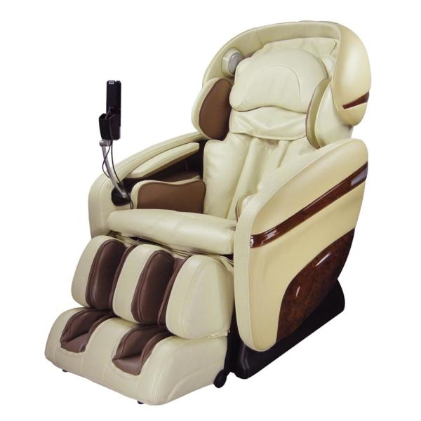 TITAN Pro Dreamer Series Cream Faux Leather Reclining Massage Chair with 3D S-Track, Built-in MP3 Speakers and Foot Rollers