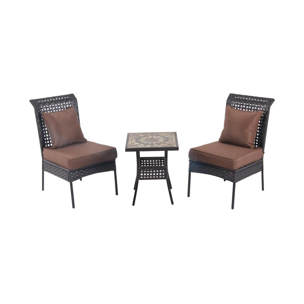 Patio Sense Zuni 3-Piece All-Weather Wicker Patio Bistro Set with Brown Cushions