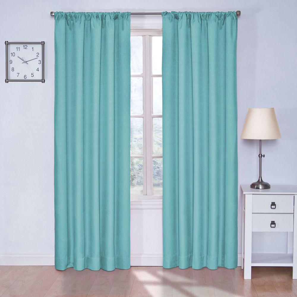 Eclipse Kendall Blackout Turquoise Curtain Panel 63 In Length