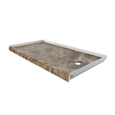 32 in. x 60 in. Single Threshold Shower Base with Right Hand Drain in Breccia Paradiso