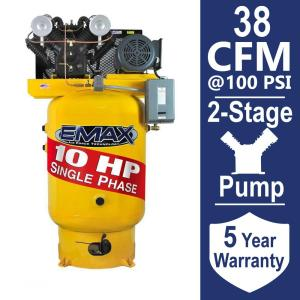 EMAX Industrial PLUS Series 80 Gal. 10 HP 1-Phase Vertical Electric Air Compressor by EMAX
