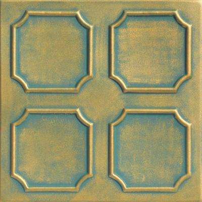 Bostonian 1.6 ft. x 1.6 ft. Foam Glue-up Ceiling Tile in Green Gold Patina