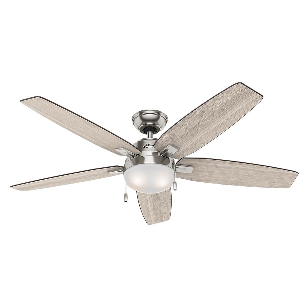 Hunter Antero 54 In Led Indoor Brushed Nickel Ceiling Fan With Light 59183 The Home Depot