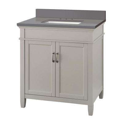 Ashburn 31 in. W x 22 in. D Vanity Cabinet in Grey with Engineered Marble Vanity Top in Slate Grey with White Basin
