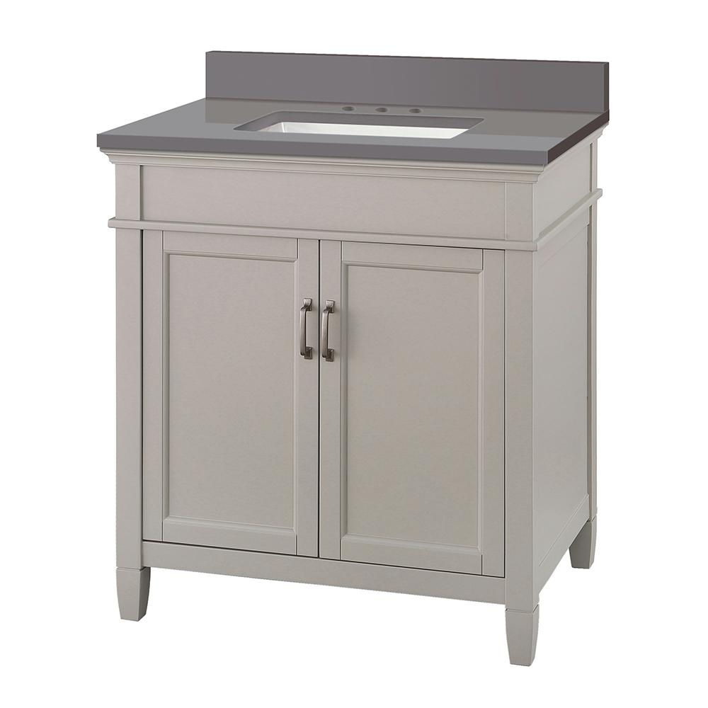 Home Decorators Collection Ashburn 31 in. W x 22 in. D Vanity Cabinet in Grey with Engineered Marble Vanity Top in Slate Grey with White Basin was $668.99 now $468.29 (30.0% off)