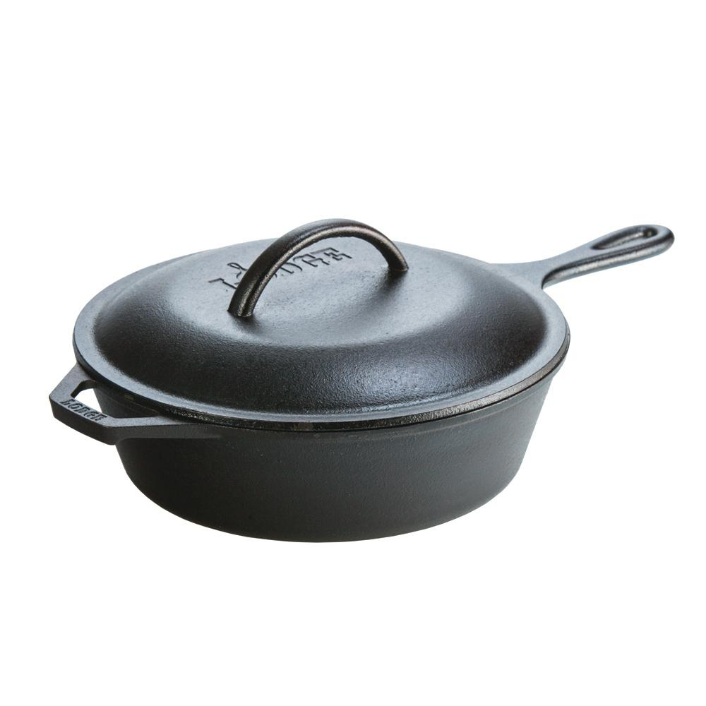 seasoned in round deep cast iron frying pan skillet with lid heavy duty 761768372050 ebay. Black Bedroom Furniture Sets. Home Design Ideas