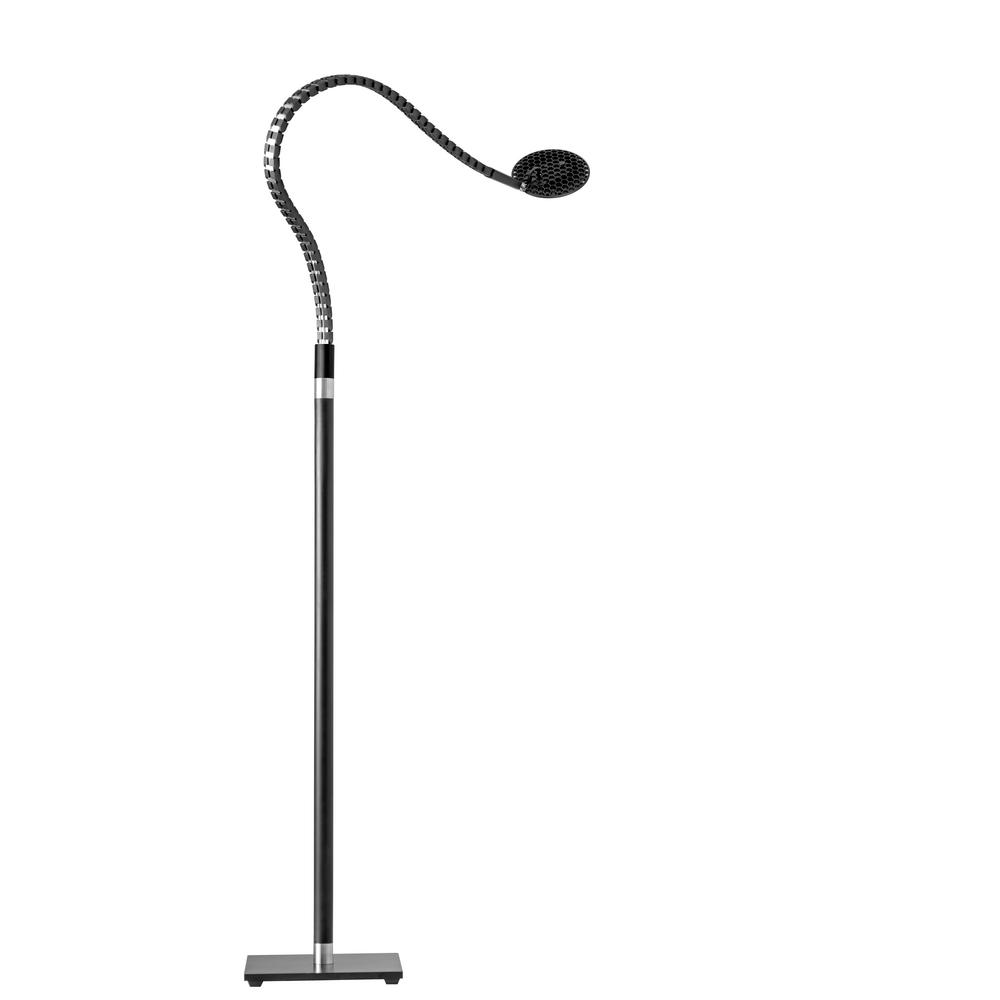 ADS360 Natrix 55 in. Integrated LED Black/Brushed Steel Floor Lamp