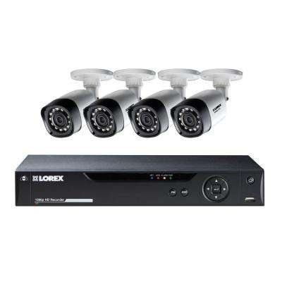 8-Channel 1,080p High Definition 1TB Hard Drive Surveillance System with 4 Cameras and FLIR Cloud Remote Viewing
