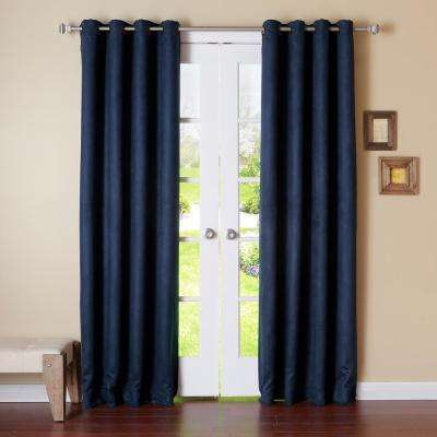 84 in. L Navy Suede Blackout Curtain (2-Pack)