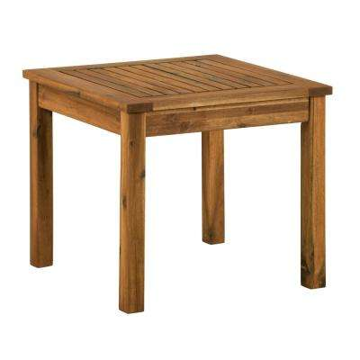 Brown Square Acacia Wood Outdoor Side Table