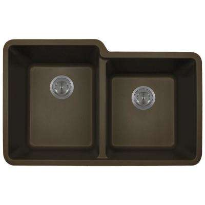 Undermount Granite Composite 32.5 in. 0-Hole Double Bowl Kitchen Sink in Mocha