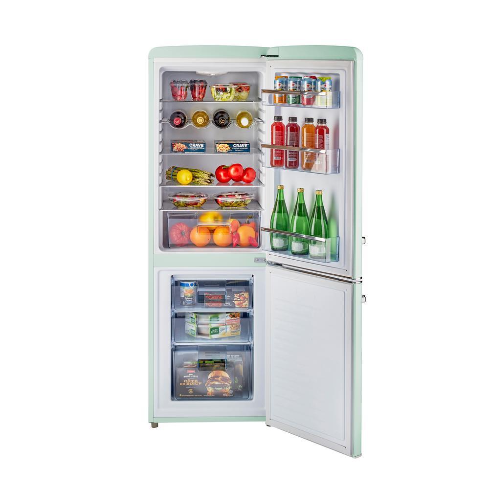 Retro 21.6 in. 7 cu. ft. Bottom Freezer Refrigerator in Summer Mint Green, ENERGY STAR