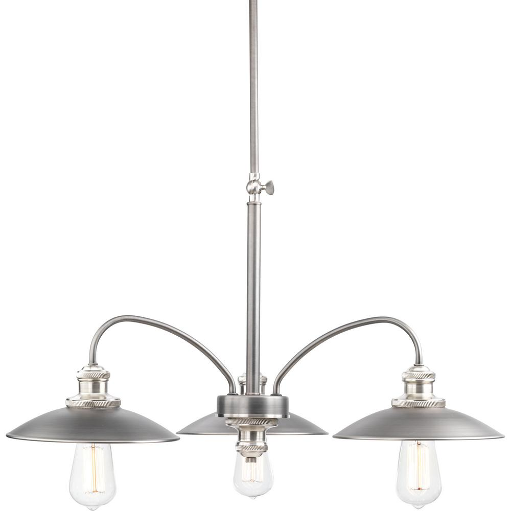 Progress Lighting Archives Collection 3-Light Antique Nickel Chandelier - Progress Lighting Archives Collection 3-Light Antique Nickel