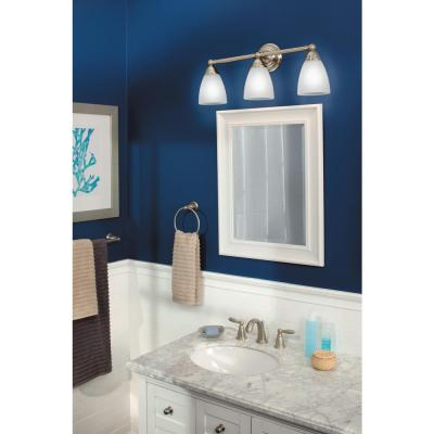 Brantford 3-Piece Bath Hardware Set with 24 in. Towel Bar, Paper Holder, and Towel Ring in Brushed Nickel
