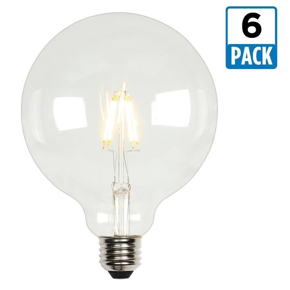 Indooroutdoor globe led bulbs light bulbs the home depot 60w equivalent soft white g40 dimmable filament led light bulb 6 pack mozeypictures Gallery