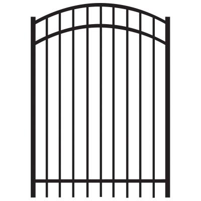 Natural Reflections 4 ft. x 5 ft. Black Heavy-Duty Aluminum Arched Pre-Assembled Fence Gate