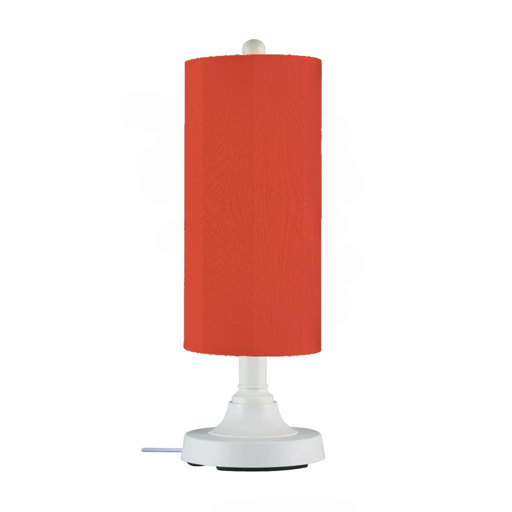 Patio Living Concepts Coronado 30 in. White Outdoor Table Lamp with Melon Cylinder Shade