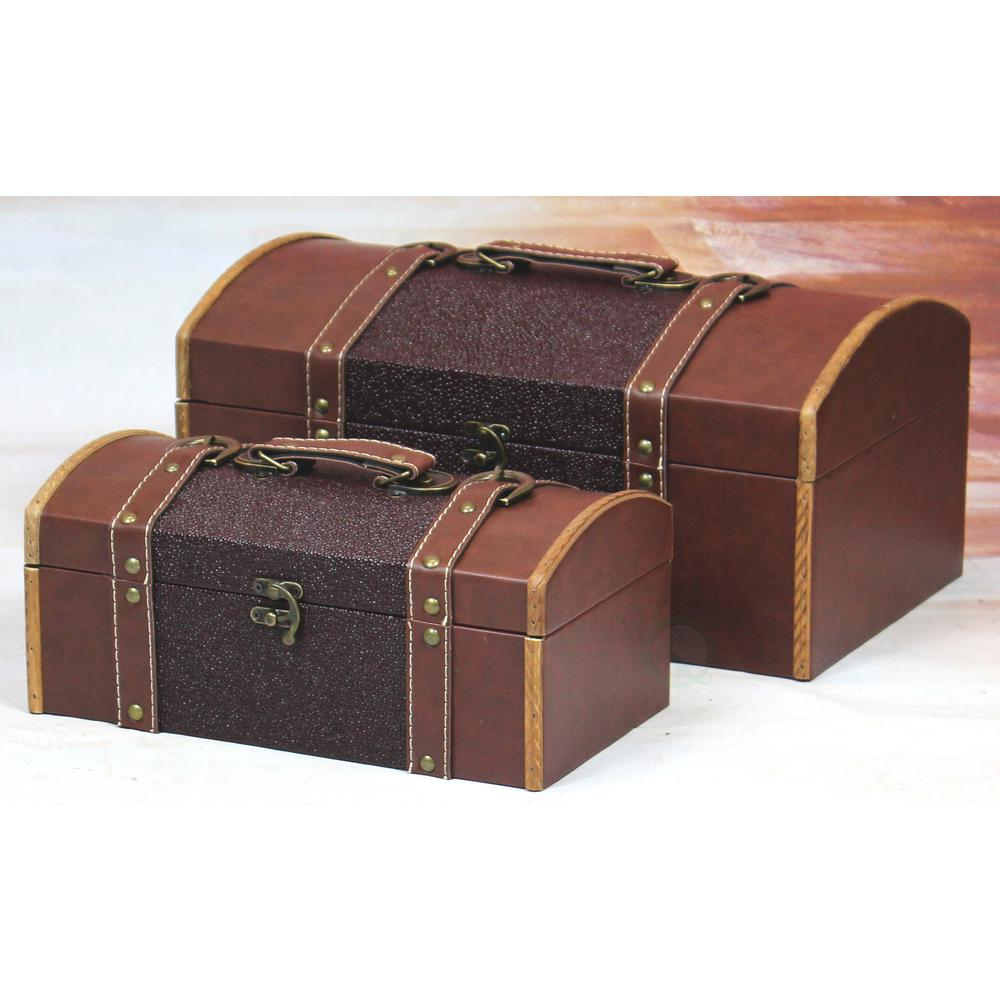 Attractive Vintiquewise Set Of Two Leather Designer Decorative Storage Trunks