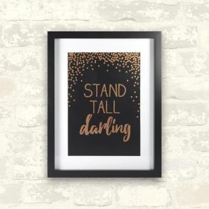 Linden Ave 11 inch x 14 inch Stand Tall Darlin Rose Gold 1-Piece Framed Artwork with Mat and Metallic Screenprint by Linden Ave