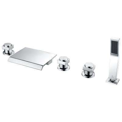 Guaira 3-Handle Deck-Mount Roman Tub Faucet in Polished Chrome