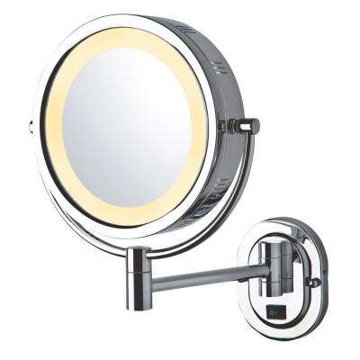 14 in. x 13 in. Lighted Wall Mirror in Chrome