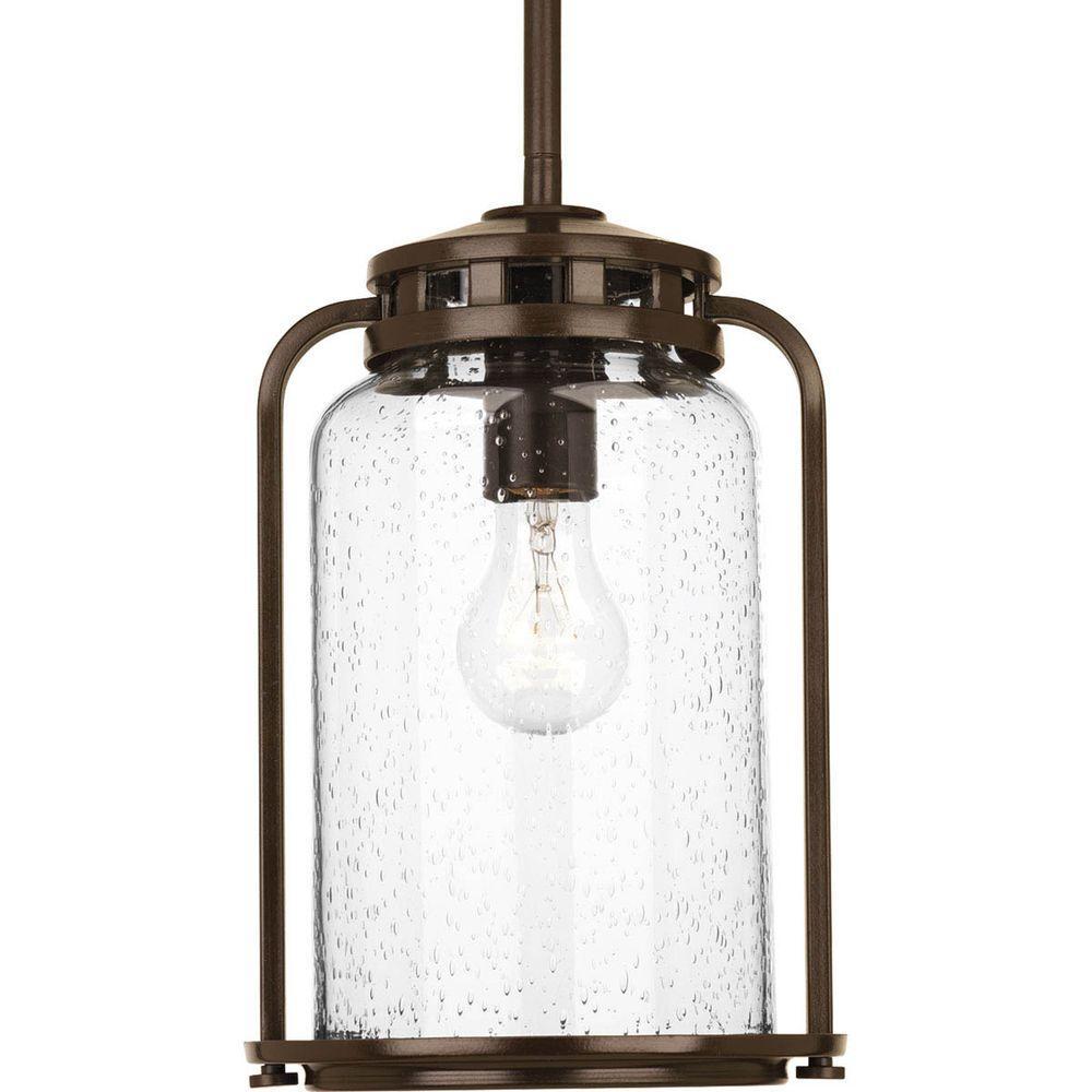 Botta Collection 1-Light 7.75 in. Outdoor Antique Bronze Hanging Lantern