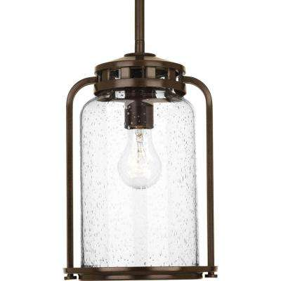 Botta Collection 1-Light 7.75 in. Outdoor Antique Bronze Hanging Lantern