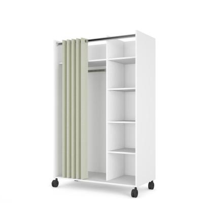 Lola White/Natural Fabric Mobile Armoire with Curtain 62.99 in. H x 39.25 in. W x 19 in. D