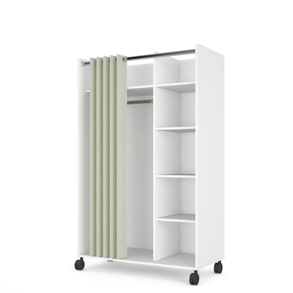 Tvilum Lola White Natural Fabric Mobile, Wardrobe Cabinet Home Depot