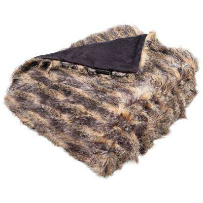 Faux Pheasant Taupe/Charcoal Throw