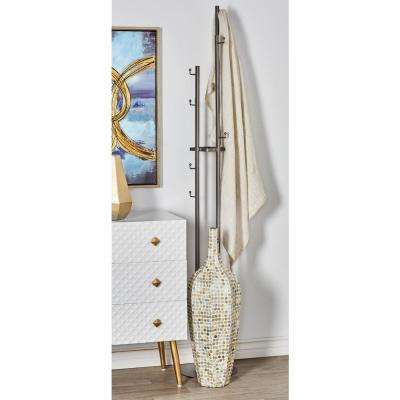 Silver Iron Standing Coat Rack