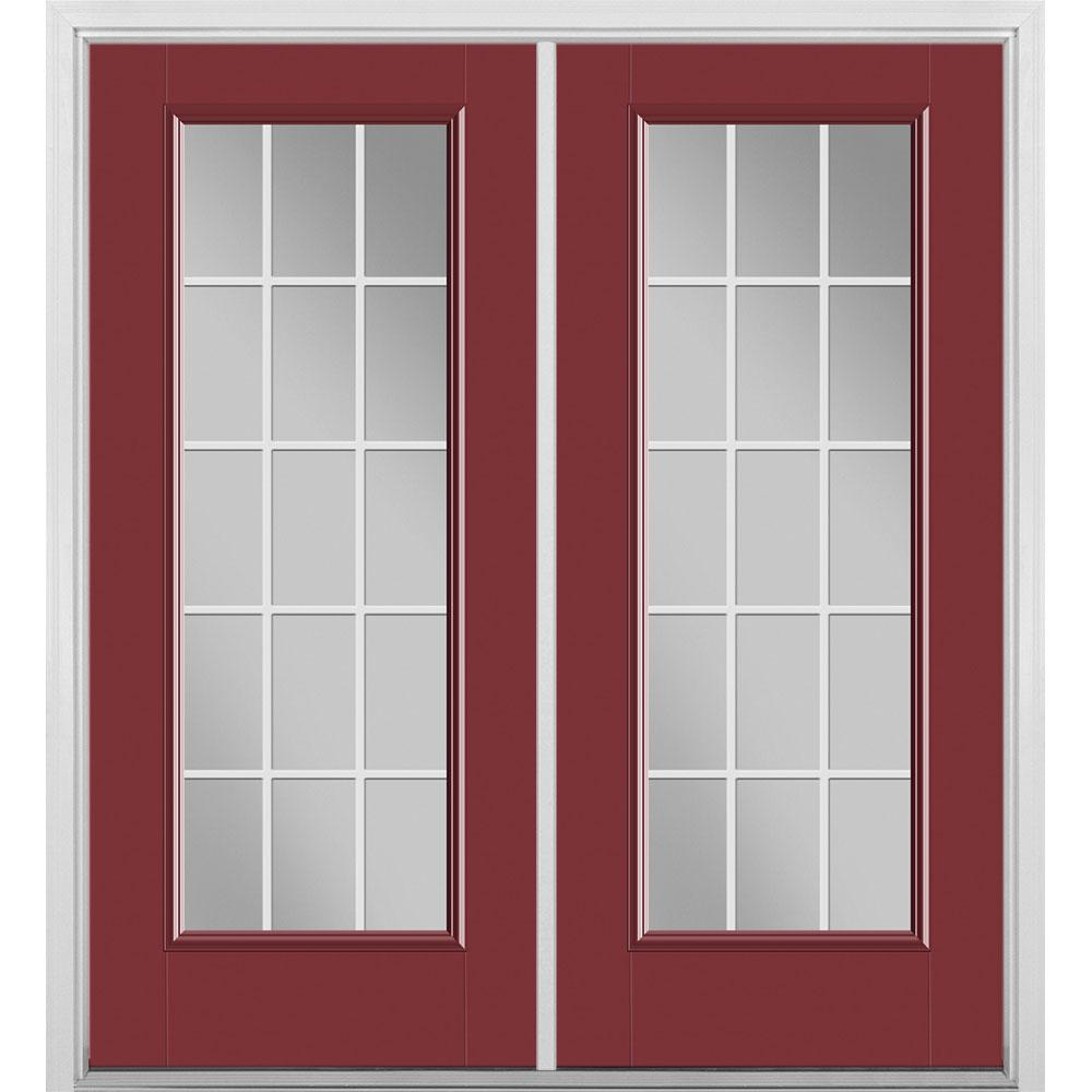 Masonite 72 in. x 80 in. Red Bluff Fiberglass Prehung Right-Hand Inswing GBG 15-Lite Clear Glass Patio Door with Brickmold