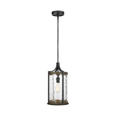 Angelo 1-Light Distressed Weathered Oak and Slate Grey Metal Pendant with Clear Thick Wavy Glass Shade
