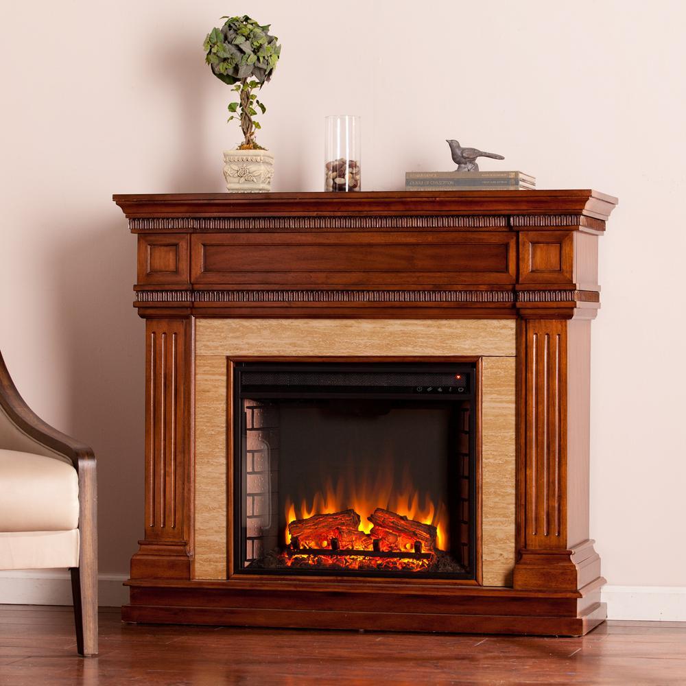 Kingston 45.5 in. W Stone Look Electric Fireplace in Oak Saddle