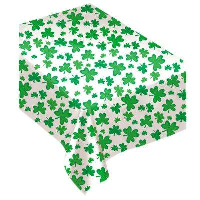 Shamrock 52 in. x 90 in. White and Green Vinyl St. Patrick's Day Flannel Backed Tablecover (2-Pack)