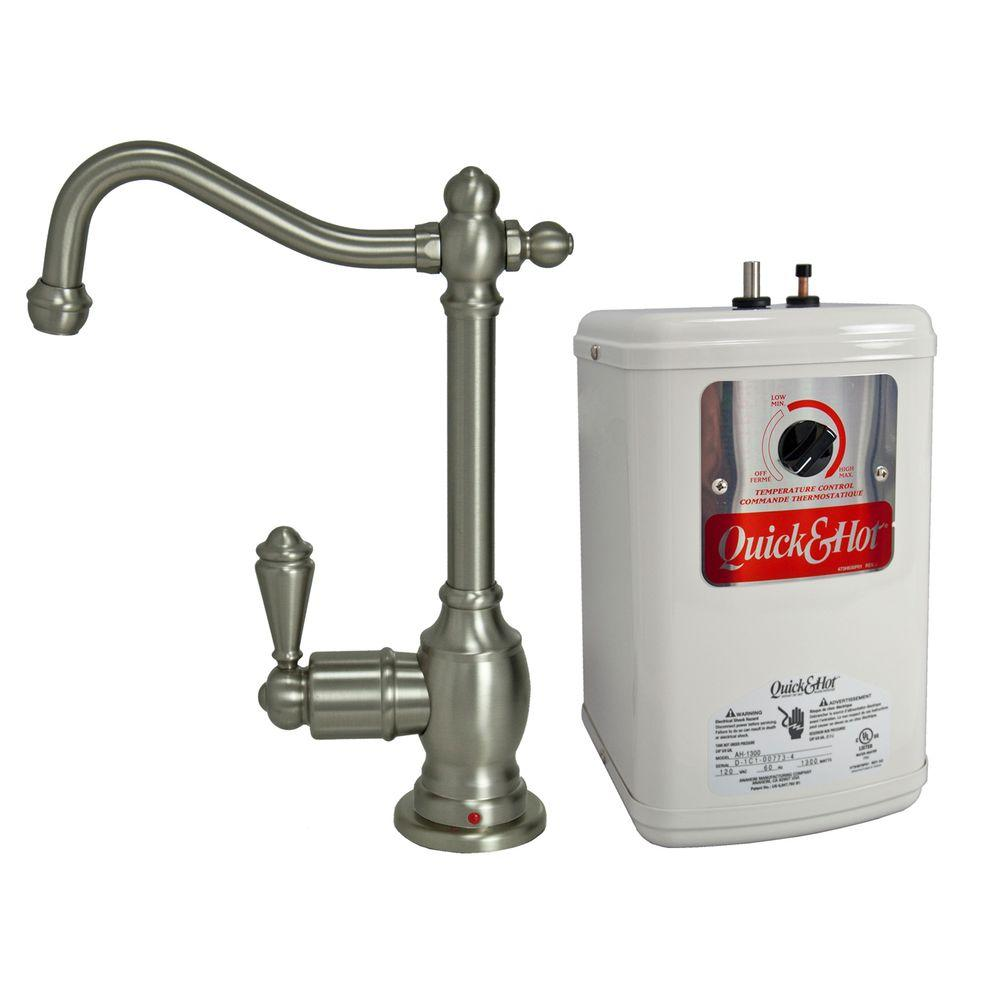 null Single-Handle Hot Water Dispenser Faucet with Heating Tank in Brushed Nickel