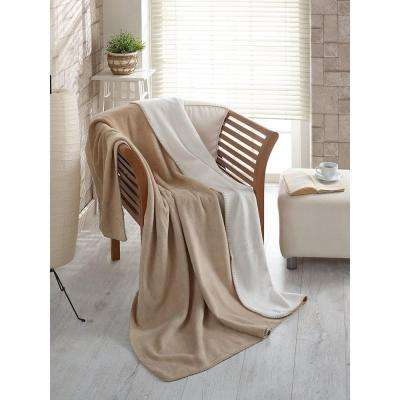 50 in. W x 65 in. L Beige and Ivory Reversible Soft Cotton Cozy Fleece Blanket