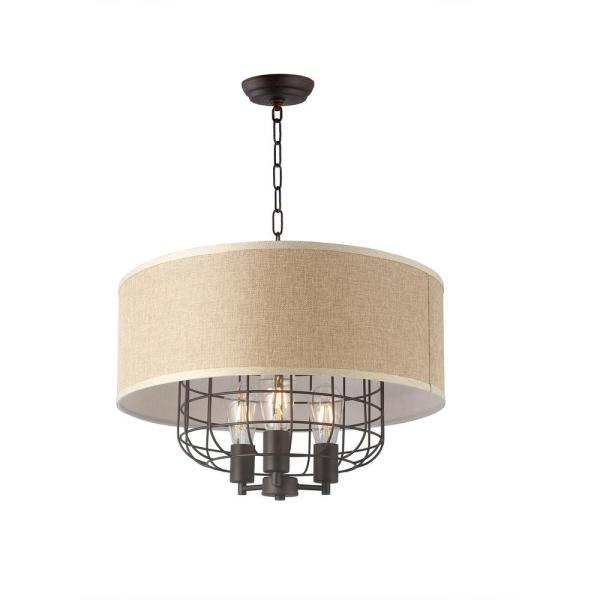 3-Light Black and Brown Drum Chandelier with Linen Shade