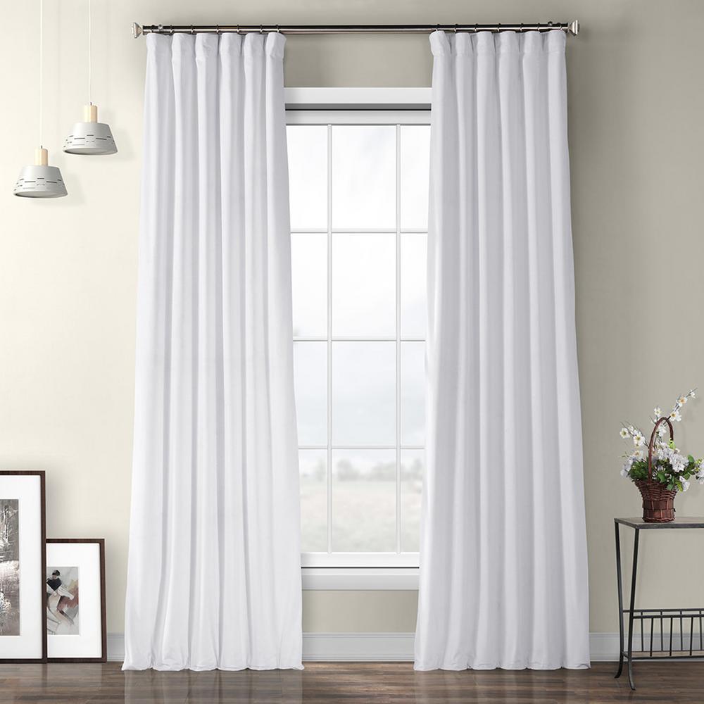 Pillow White Plush Velvet Curtain - 50 in. W x 96 in. L